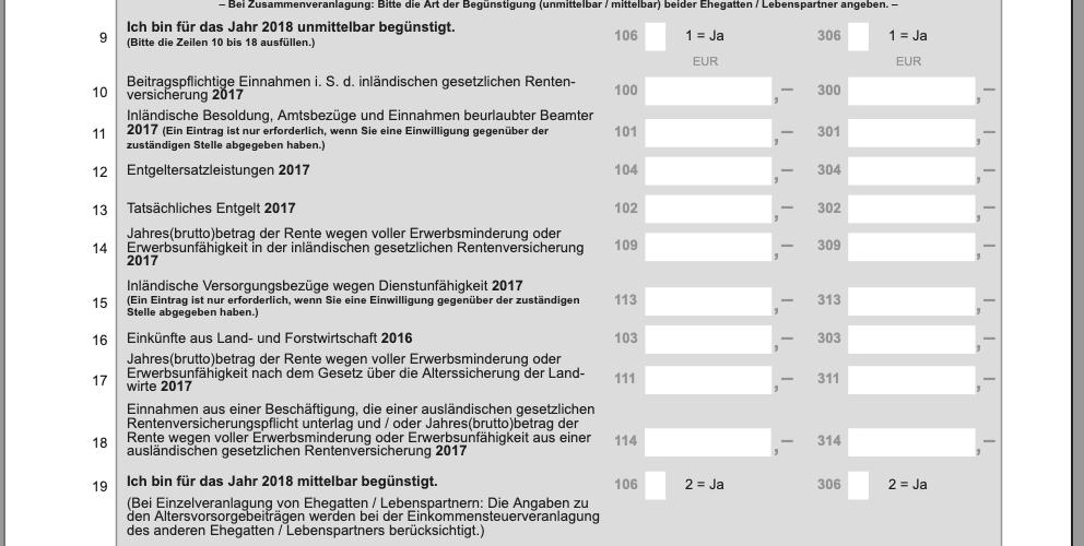 Formular Vordruck Steuererklärung BU Beitrag